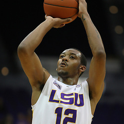 Jan 04, 2010; Baton Rouge, LA, USA; LSU Tigers guard Aaron Dotson (12) shoots against the McNeese State Cowboys during the second half at the Pete Maravich Assembly Center. LSU defeated McNeese State 83-60.  Mandatory Credit: Derick E. Hingle-US PRESSWIRE
