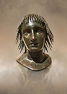 Roman bronze sculpture of Ptolomy Apion  from the square peristyle of the Villa of the Papyri in Herculaneum, Naples Museum of Archaeology, Italy ..<br /> <br /> If you prefer to buy from our ALAMY STOCK LIBRARY page at https://www.alamy.com/portfolio/paul-williams-funkystock/greco-roman-sculptures.html . Type -    Naples    - into LOWER SEARCH WITHIN GALLERY box - Refine search by adding a subject, place, background colour, museum etc.<br /> <br /> Visit our CLASSICAL WORLD HISTORIC SITES PHOTO COLLECTIONS for more photos to download or buy as wall art prints https://funkystock.photoshelter.com/gallery-collection/The-Romans-Art-Artefacts-Antiquities-Historic-Sites-Pictures-Images/C0000r2uLJJo9_s0c