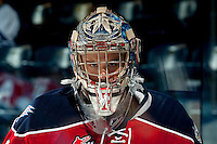 KELOWNA, CANADA - MARCH 8: Eric Comrie #1 of the Tri City Americans warms up against the Kelowna Rockets on March 8, 2014 at Prospera Place in Kelowna, British Columbia, Canada.   (Photo by Marissa Baecker/Getty Images)  *** Local Caption *** Eric Comrie;