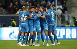 Hoffenheim's Ishak Belfodil celebrates scoring his side's first goal of the game with team mates