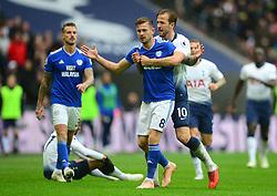 Harry Kane of Tottenham Hotspur grabs Joe Ralls of Cardiff City after his tackle on Lucas of Tottenham Hotspur - Mandatory by-line: Alex James/JMP - 06/10/2018 - FOOTBALL - Wembley Stadium - London, England - Tottenham Hotspur v Cardiff City - Premier League
