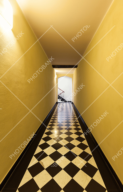 interior, long hallway of an old building