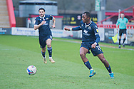 Morecambe Forward Carlos Mendes Gomes (11) keeps hold of the ball and runs forward during the EFL Sky Bet League 2 match between Stevenage and Morecambe at the Lamex Stadium, Stevenage, England on 6 February 2021.