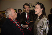 CLIVE BARKER, ADRIAN MIBUS AND AN JO FERMON at the Private view for A Strong Sweet Smell of Incense<br /> A Portrait of Robert Fraser, Curated by Brian Clarke. Pace Gallery. 6 Burlington Gardens. London. 5 February 2015.