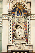 Statue of Pope Eugene IV (1383 - 25 February 1447), born Gabriele Condulmer, was pope from 3 March 1431 until his death on the facade of  the Gothic-Renaissance Duomo of Florence,  Basilica of Saint Mary of the Flower; Firenza ( Basilica di Santa Maria del Fiore ).  Built between 1293 & 1436. Italy .<br /> <br /> Visit our ITALY PHOTO COLLECTION for more   photos of Italy to download or buy as prints https://funkystock.photoshelter.com/gallery-collection/2b-Pictures-Images-of-Italy-Photos-of-Italian-Historic-Landmark-Sites/C0000qxA2zGFjd_k<br /> .<br /> <br /> Visit our MEDIEVAL PHOTO COLLECTIONS for more   photos  to download or buy as prints https://funkystock.photoshelter.com/gallery-collection/Medieval-Middle-Ages-Historic-Places-Arcaeological-Sites-Pictures-Images-of/C0000B5ZA54_WD0s