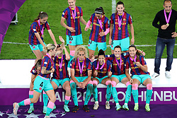 Barcelona players await the trophy presentation after the final whistle during the UEFA Women's Champions League final, at Gamla Ullevi, Gothenburg. Picture date: Sunday May 16, 2021.