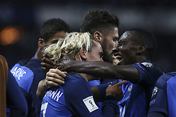 October 10, 2017 - Paris, France - Antonie Griezmann and Blaise Matuidi of France celebrateduring the Fifa 2018 World Cup qualifying match between France and Belarus on October 10, 2017 in Paris, France. (Credit Image: © Elyxandro Cegarra/NurPhoto via ZUMA Press)