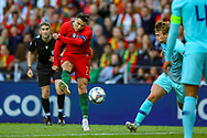 Portugal forward Cristiano Ronaldo (7) shoots towards the goal during the UEFA Nations League match between Portugal and Netherlands at Estadio do Dragao, Porto, Portugal on 9 June 2019.
