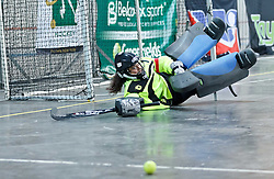 Nicole la Fleur, WP Peninsula captain, makes a save during the interprovincial indoor hockey tournament held at the Bellville Velodrome, Cape Town, on the 13th October 2016. Photo by: John Tee/RealTime Images