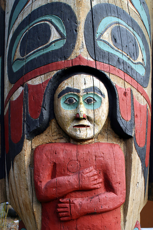Detail of Totem at Saxman Totem Park, Saxman, Alaska
