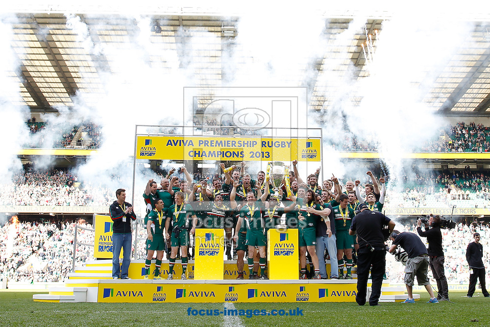 Picture by Andrew Tobin/Focus Images Ltd +44 7710 761829.25/05/2013. Leicester lift the Premiership trophy after beating Northampton during the Aviva Premiership match at Twickenham Stadium, Twickenham.