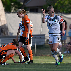 BRISBANE, AUSTRALIA - JANUARY 1: Natasha Dowie of the Victory celebrates scoring a goal during the round 10 Westfield W-League match between the Brisbane Roar and Melbourne Victory at AJ Kelly Park on January 1, 2016 in Brisbane, Australia. (Photo by Patrick Kearney/Brisbane Roar)