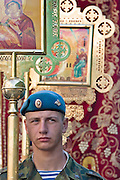 Moscow, Russia, 02/08/2006..Paratroopers carry an ikon of Saint Ilyan as Russian Orthodox believers celebrate Saint Ilyin's Day in and around Red Square..