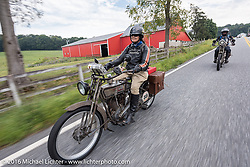 "Chris Sommer Simmons rides her bike ""Effie"" a 1915 Harley-Davidson along with her husband Pat Simmons of the Doobie Brothers, who is riding his 1914 Harley-Davidson during the Cris Simmons on her 1915 Harley-Davidson for the Motorcycle Cannonball Race of the Century. Stage-1 from Atlantic City, NJ to York, PA. USA. Saturday September 10, 2016. Photography ©2016 Michael Lichter."