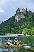 Bled, SLOVENIA,   General Views of the start area, GBR W2-, Bow, Helen GLOVER and Heather STANNING. moving away from the start in their heat of the women's pair.  1st FISA World Cup. Rowing Course. Lake Bled.  Friday  28/05/2010 [Mandatory Credit Peter Spurrier/ Intersport Images]
