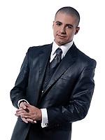 caucasian man businessman smile  portrait isolated studio on white background