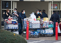 © Licensed to London News Pictures. 02/11/2020. Watford, UK. Shopper push a trolleis fully of supplies from COSTCO in Watford, Hertfordshire ahead of a second national lockdown. Strict measures are due to be re-introduced later this week in an attempt to fight a second wave of the COVID-19 strain of Coronavirus. Photo credit: Ben Cawthra/LNP