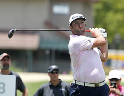 May 26, 2018 - Fort Worth, TX, USA - Jon Rahm watches his 18th tee shot during the Fort Worth Invitational Golf Tournament at Colonial Country Club Saturday May 26, 2018 in Fort Worth, Texas. (Credit Image: © Bob Booth/TNS via ZUMA Wire)