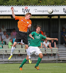 Frederik Frick (FC Helsingør) og Daniel G. Andersen (Avarta) under kampen i 2. Division Øst mellem Boldklubben Avarta og FC Helsingør den 19. august 2012 i Espelunden. (Foto: Claus Birch).