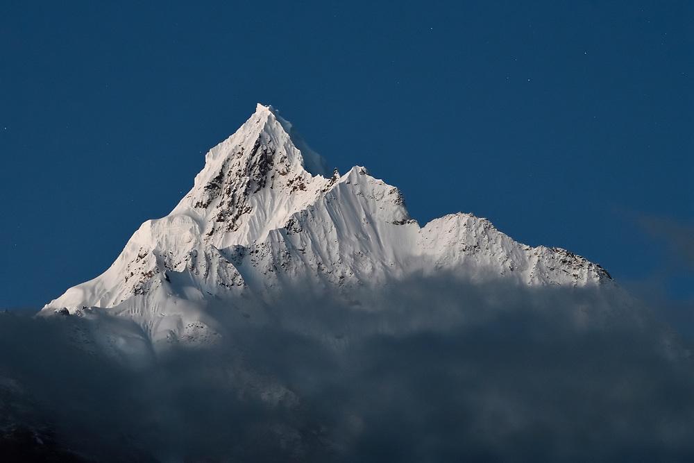 Miancimu Peak, 6054 m, Meili Snow Mountain National park, a Sacred mountain for Tibetan Buddhists, Yunnan, China