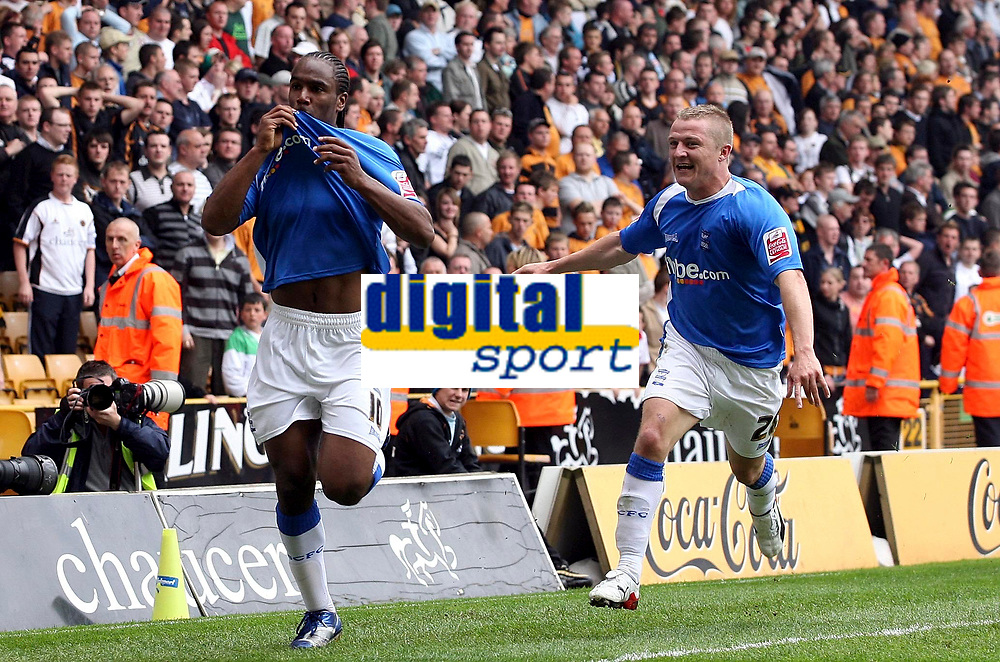 Photo: Paul Thomas.<br /> Wolverhampton Wanderers v Birmingham City. Coca Cola Championship. 22/04/2007.<br /> <br /> Goal scorer Cameron Jerome (L) and Gary McShefferey celebrate his late winner.