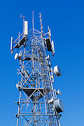 Antennas for 3 sector cellular communications mobile telephone system on a triangular lattice tower in New South Wales, Australia. <br />