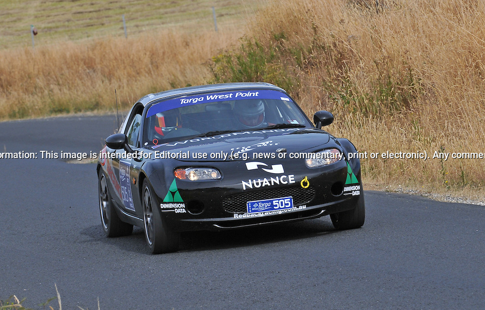 505 Adam Spence & Tracey Button..2006 Mazda MX5.Day 2.Targa Wrest Point 2010.Southern Tasmania.31st of January 2010.(C) Joel Strickland Photographics.Use information: This image is intended for Editorial use only (e.g. news or commentary, print or electronic). Any commercial or promotional use requires additional clearance.