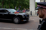 On US President Donald Trumps first day of a controversial three-day state visit to the UK by the 45th American President, his Presidential cavalcade makes its way along Horseguards en-route to Westminster Abbey, on 3rd June 2019, in London England. The armour-plated car, formerly named Cadillac One, is understood to cost around £1.1million and weighs at least four tonnes. The Beast is flown to whichever country the US president is visiting and is reportedly armed with tear gas canisters, pump-action shotguns a life support machine and blood supply.