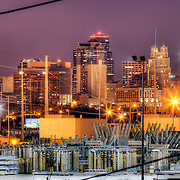 KCMO skyline from near the Missouri River at Front Street and Olive.