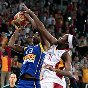 Galatasaray's Tina CHARLES (R) and Lotos Gdynia's Aneika HENRY (L) during their woman Euroleague group A matchday 5 Galatasaray between Lotos Gdynia at the Abdi Ipekci Arena in Istanbul at Turkey on Wednesday, November 09 2011. Photo by TURKPIX