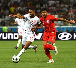 VOLGOGRAD, June 18, 2018  Kyle Walker (R) of England vies with Saber Khalifa of Tunisia during a group G match between Tunisia and England at the 2018 FIFA World Cup in Volgograd, Russia, June 18, 2018. England won 2-1. (Credit Image: © Chen Cheng/Xinhua via ZUMA Wire)