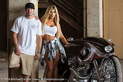 Zach Ness (from Arlen Ness Inc) and Ashley Walker of California with Cory Ness' (Zach's Dad) twin engine side-by-side Harley they were riding around Austin during the 2016 ROT (Republic of Texas Rally). Austin, TX, USA. June 11, 2016.  Photography ©2016 Michael Lichter.