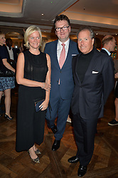 Left to right, LADY BRUCE DUNDAS, EWAN VENTERS and VISCOUNT LINLEY at a the Fortnum's X Frank private view - an instore exhibition of over 60 works from Frank Cohen's collection at Fortnum & Mason, 181 Piccadilly, London on 12th September 2016.