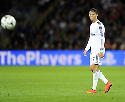 Real Madrid's Cristiano Ronaldo watches a ball  - Photo mandatory by-line: Joe Meredith/JMP - Mobile: 07966 386802 12/08/2014 - SPORT - FOOTBALL - Cardiff - Cardiff City Stadium - Real Madrid v Sevilla - UEFA Super Cup