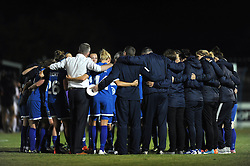 Bristol Academy players huddle after the game  - Mandatory byline: Dougie Allward/JMP - 07966386802 - 05/09/2015 - FOOTBALL - SGS Wise Campus -Bristol,England - Bristol Academy Womens v Birmingham City Ladies - FA Womens Super League