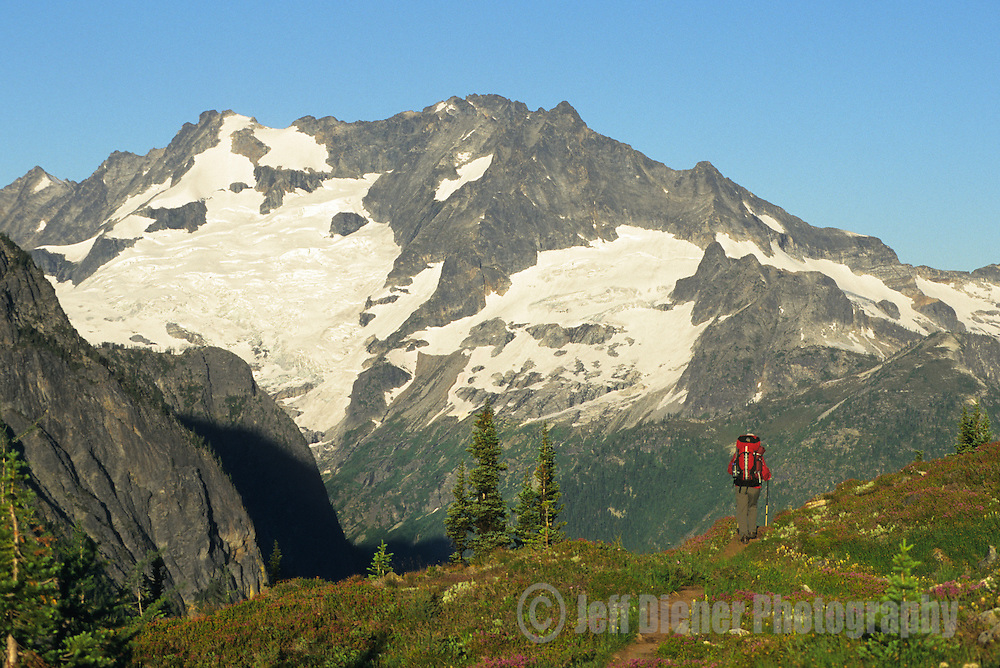 A backpacker hikes over Easy Pass in North Cascades National Park, Washington.