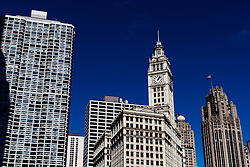 The Wrigley building, (centre) and the Tribune building, (right), Chicago