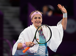 February 12, 2019 - Doha, QATAR - Jelena Ostapenko of Latvia in action during the first round at the 2019 Qatar Total Open WTA Premier tennis tournament (Credit Image: © AFP7 via ZUMA Wire)