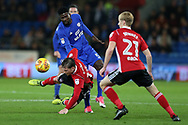 Joe Garner of Ipswich Town (l) is fouled by Bruno Ecuele Manga of Cardiff City. EFL Skybet championship match, Cardiff city v Ipswich Town at the Cardiff city stadium in Cardiff, South Wales on Tuesday 31st October 2017.<br /> pic by Andrew Orchard, Andrew Orchard sports photography.