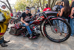American Dreams' Angelo Lanciano's custom bagger all the way from Monza, Italy at the Perewitz Paint Show at the Broken Spoke Saloon during Daytona Beach Bike Week, FL. USA. Wednesday, March 13, 2019. Photography ©2019 Michael Lichter.