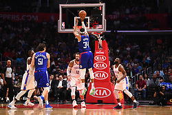 October 19, 2018 - Los Angeles, CA, U.S. - LOS ANGELES, CA - OCTOBER 19: Los Angeles Clippers Forward Tobias Harris (34) shoots a three pointer during a NBA game between the Oklahoma City Thunder and the Los Angeles Clippers on October 19, 2018 at STAPLES Center in Los Angeles, CA. (Credit Image: © Brian Rothmuller/Icon SMI via ZUMA Press)