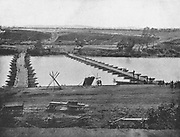 Pontoon Bridge at Franklin Crossing, on the Rappahannock, Virginia from the book ' The Civil war through the camera ' hundreds of vivid photographs actually taken in Civil war times, sixteen reproductions in color of famous war paintings. The new text history by Henry W. Elson. A. complete illustrated history of the Civil war