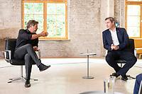"""28 AUG 2021, BERLIN/GERMANY:<br /> Robert Habeck (L), B90/Gruene, Bundesvorsitzender, und Markus Soeder (R), CDU, Ministerpraesident Bayern, vor Beginn der Aufzeichnung, """"Duell der Herzen"""",  TV Duell von Der Spiegel, Vice, T-Online, Vice Media Redaktion<br /> IMAGE: 20210828-01-053<br /> KEYWORDS: Markus Söder, Wahlkampf, Bundestagswahl 2021"""