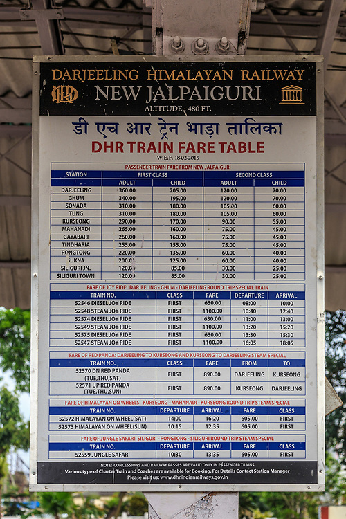 DHR train time table in New Jaipalguri station in India.