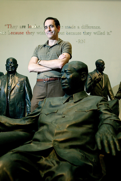 Presidential Historian Timothy Naftali, seen in the museum's gallery of world leaders, is the first Director of the Nixon Presidential Library and Museum in Yorba Linda, California.