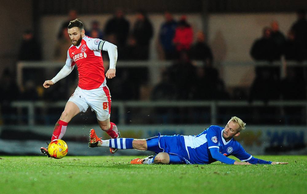 Fleetwood Town's Jimmy Ryan vies for possession with Rochdale's David Syers<br /> <br /> Photographer Chris Vaughan/CameraSport<br /> <br /> Football - The Football League Sky Bet League One - Rochdale v Fleetwood Town - Tuesday 23rd February 2016 - Scotland - Rochdale   <br /> <br /> © CameraSport - 43 Linden Ave. Countesthorpe. Leicester. England. LE8 5PG - Tel: +44 (0) 116 277 4147 - admin@camerasport.com - www.camerasport.com