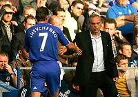 Chelsea v Fulham. Barclays Premier League. 29/09/2007. Andriy Shevchenko of Chelsea shakes hands with new boss Avram Grant ater being replaced
