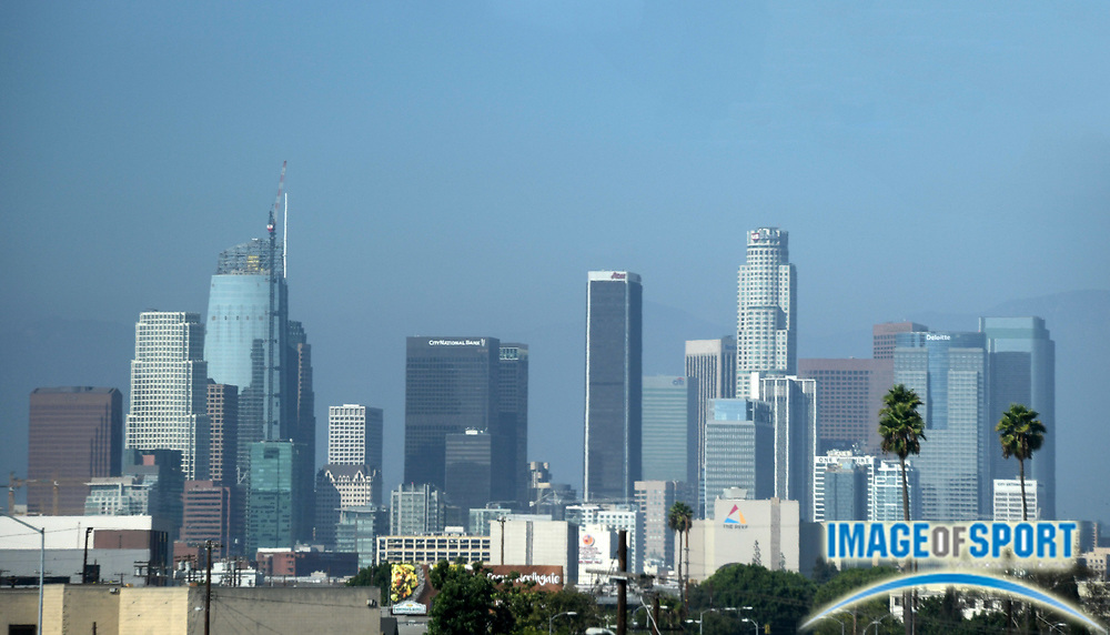 Sep 4, 2016; Los Angeles, CA, USA; General view of the downtown Los Angeles skyline. Mandatory Credit: Kirby Lee-USA TODAY Sports