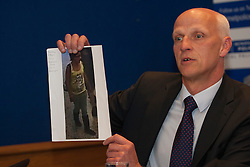 © licensed to London News Pictures. London, UK 06/08/2012. Detective Chief Inspector Nick Scola showing Tia Sharp's last seen CCTV footage in New Scotland Yard. Tia is being searched around Croydon area and she has been missing for nearly 3 days. Photo credit: Tolga Akmen/LNP