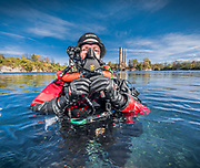 Rebreather diver with KISS Spirit LTE and Hollis BOV at Dutch Springs,  Scuba Diving Resort in Pennsylvania